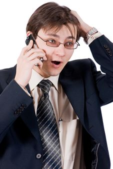 Free Young Businessman Calling By Cellular Phone Stock Photos - 8211563