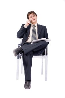 Free Young Businessman Calling By Cellular Phone Stock Photo - 8211600