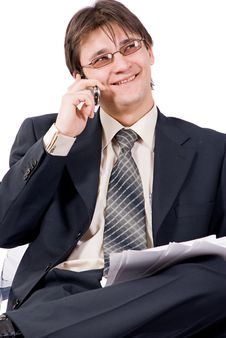 Free Young Businessman Calling By Cellular Phone Stock Photos - 8211623