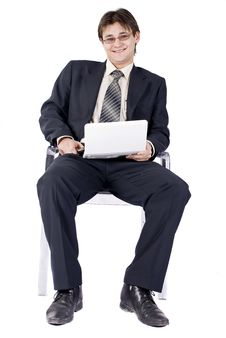 Businessman Working On Laptop Computer Stock Image