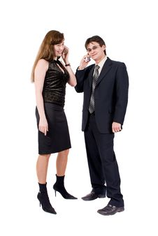 Free Young Couple Talking On The Phone Stock Photography - 8211792