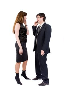 Free Young Couple Talking On The Phone Stock Photo - 8211810