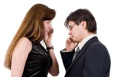 Free Young Couple Talking On The Phone Stock Image - 8211831