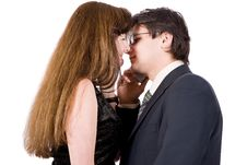 Free Young Couple Talking On The Phone Stock Image - 8211861