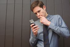 Free Businessman Checking Messages Royalty Free Stock Photo - 8211975