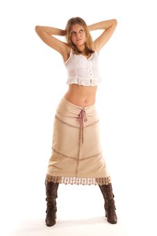 Free Country Woman In The Long Skirt Royalty Free Stock Photos - 8213818