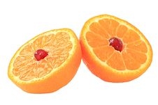 Free Grain Of Pomegranate Is In A Mandarine. Royalty Free Stock Photography - 8213947