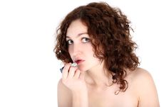 Girl With Lipstick Stock Photography
