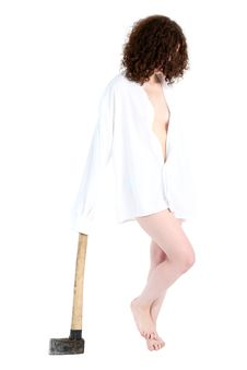 Free Girl With Axe Stock Images - 8214744