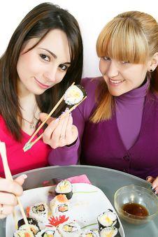 Free Womans Eating  Sushi Royalty Free Stock Image - 8216116
