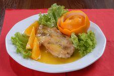 Free Juicy Pork Chop Served With Orange Stock Photos - 8216123