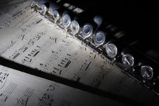 Free Flute And Old Sheet Music Stock Photo - 8216160