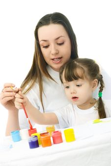 Mother And Daughter Painting Stock Photography