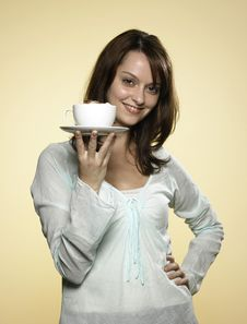 Free Woman With Cup Of Coffee 05 Stock Image - 8217211