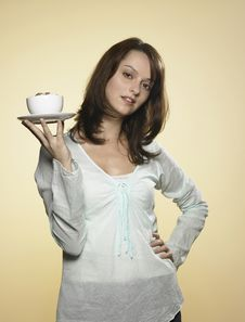 Free Woman With Cup Of Coffee 02 Royalty Free Stock Images - 8217259