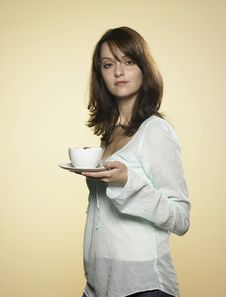 Free Woman With Cup Of Coffee 01 Royalty Free Stock Photography - 8217287