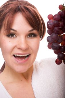Free Woman With Grapes Stock Photo - 8217590