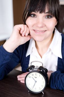 Free Woman With Clock Royalty Free Stock Image - 8217836