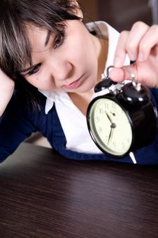 Free Woman With Clock Royalty Free Stock Photos - 8217898