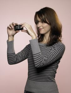 Free Woman With Mobile Phone Camera Stock Image - 8218061