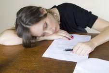 Free Attractive Girl Secretary Asleep On Her Desktop Stock Photos - 8218653