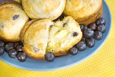 Fresh Blueberry Muffins With Butter Royalty Free Stock Photography