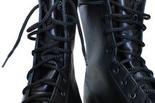 Free Two Black Leather Army Boots. Stock Photography - 8219262