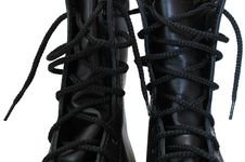 Free Two Black Leather Army Boots. Stock Photography - 8219292