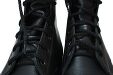 Free Two Black Leather Army Boots. Royalty Free Stock Photos - 8219328