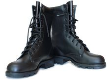 Free Two Black Leather Army Boots. Stock Photo - 8219350