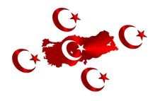 Free Big Turkish Map And Flag Royalty Free Stock Photo - 8219555