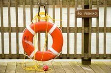Free Life Preserver On Dock Royalty Free Stock Photo - 8219705
