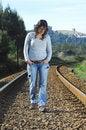 Free Walking On A Railway Royalty Free Stock Image - 8228846