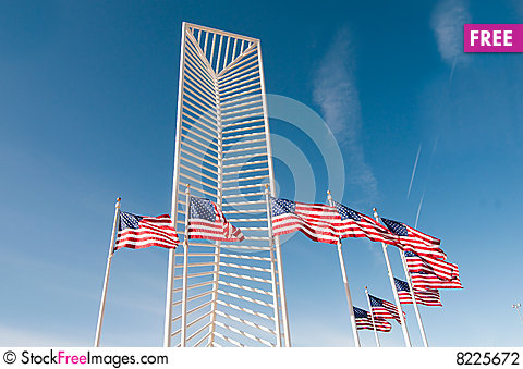 Two American Flags Stock Photo
