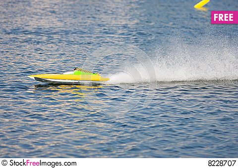An R/C model boat practicing laps Stock Photo