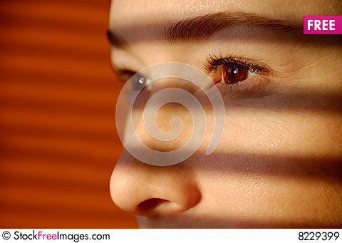 Free Woman Looks Through Jalousie Royalty Free Stock Images - 8229399