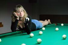 Free The Girl Plays Billiards Stock Photos - 8224873
