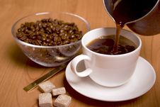Free Cup Of Coffee, Sugar And Beans Stock Photo - 8224940