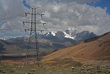 Free Electricity Pole Near Huana Potosi Peak Stock Photography - 8225232