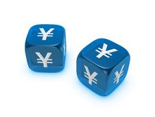 Pair Of Translucent Blue Dice With Yen Sign Royalty Free Stock Image