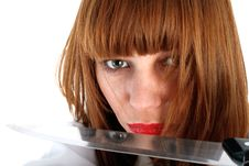 Free Woman With Knife Royalty Free Stock Photo - 8225935