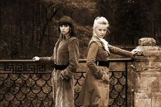 Free Two Girl In Fall Park Stock Images - 8226414
