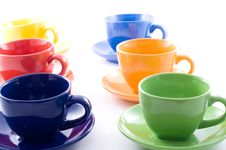 Colourful Coffee Cups Isolated Royalty Free Stock Photos