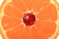 Free Grain Of Pomegranate Is In A Mandarine. Stock Photos - 8226883