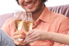 Couple And Drink Royalty Free Stock Image