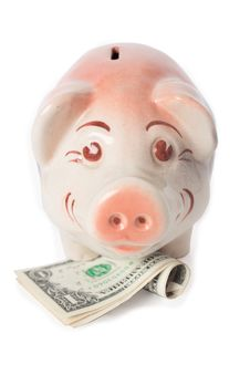 Free Happy Piggy Bank With Cash Royalty Free Stock Image - 8227166