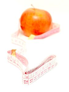 Diet, Apple And Measuring Tape Isolated On White Royalty Free Stock Image