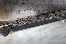 Free Flute And Old Sheet Music Stock Photo - 8227550