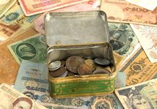 Free Old Currency And Box With Old Coins Royalty Free Stock Photo - 8227715