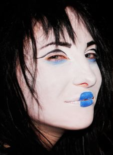 Free Cruel Girl With Blue Lips Royalty Free Stock Photos - 8227798